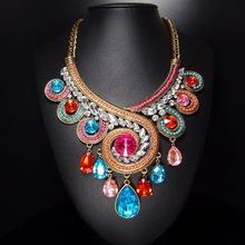 跨境饰品水滴珠链欧美项链  夸张合金复古项链 亚马逊合金项链