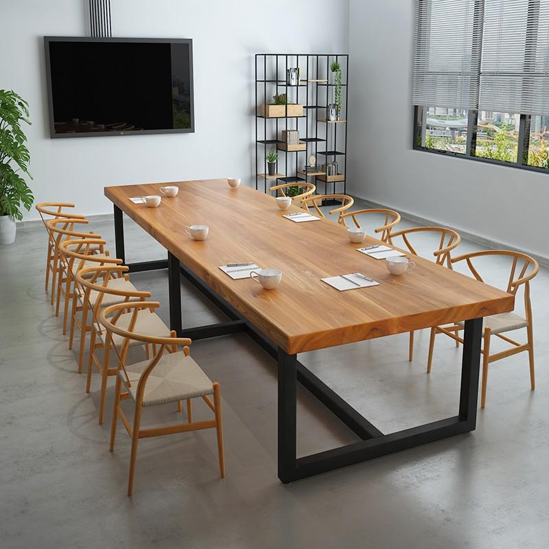 美式家具实木办公桌铁艺洽谈培训会议桌长桌公司职员办公桌椅组合