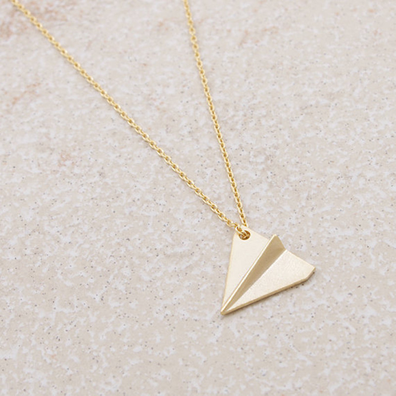 New fashion paper airplane pendant necklace wholesale NHCU206471