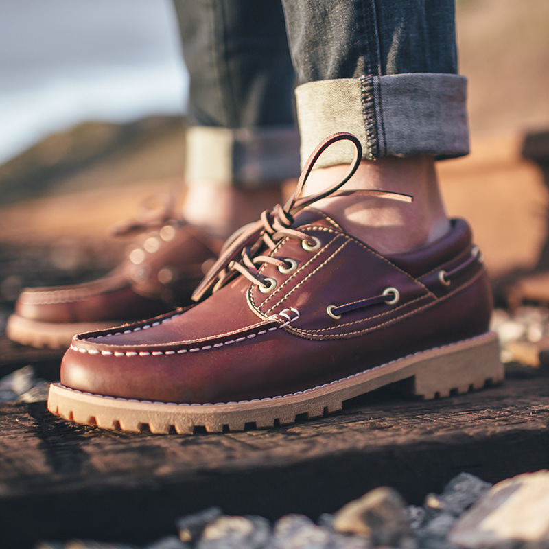 Maden Brand 2018 Autumn Mens Casual Shoes high quality leather Fashion Style Comfortable Boat shoes Handmade Retro Male Shoes
