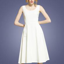 新款赫本风欧美无袖背心伞裙显瘦垂感胖MM中长款大摆连衣裙长裙