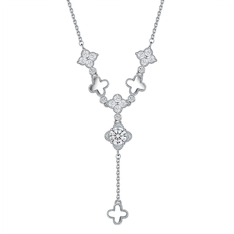Stylish and delicate diamond leaf necklace clavicle chain NHLJ175259