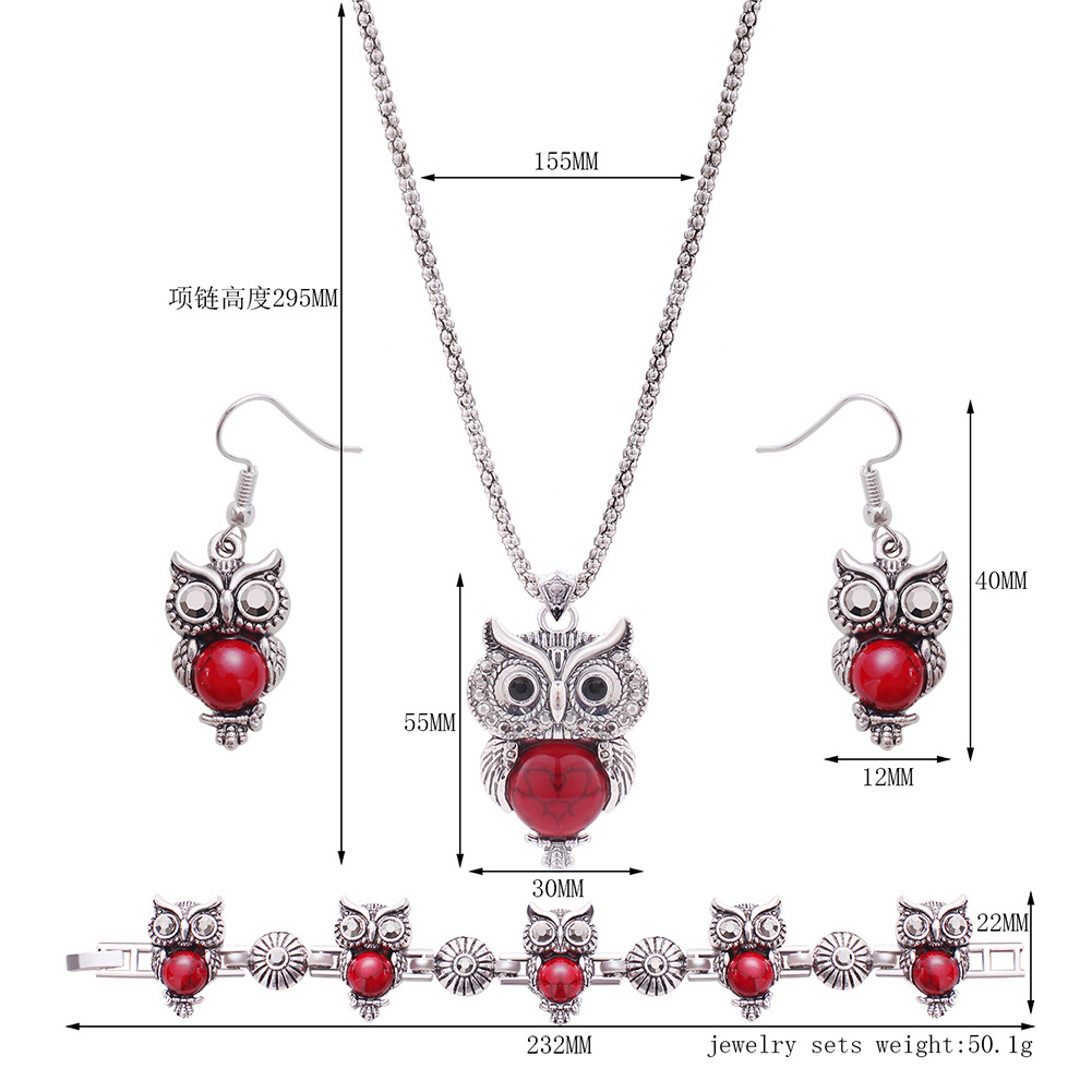 Occident and the United States alloy Diamond Jewelry Set (Ancient silver 61163133)NHXS1433-Ancient silver 61163133