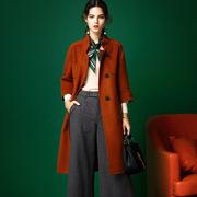 2017秋冬女装新款欧美大牌长款修身显瘦大口袋双面呢羊绒大衣外套