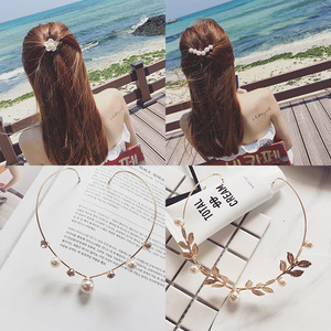 Hair clip hairpin for women girls hair accessories National alloy back wearing sweet hairpin Pearl Flower pressing clip hair hoop hair ornament headdress