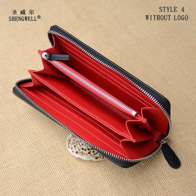 黑红撞色长款拉链钱包经典十字纹牛皮大容量多卡位零钱手机包男女
