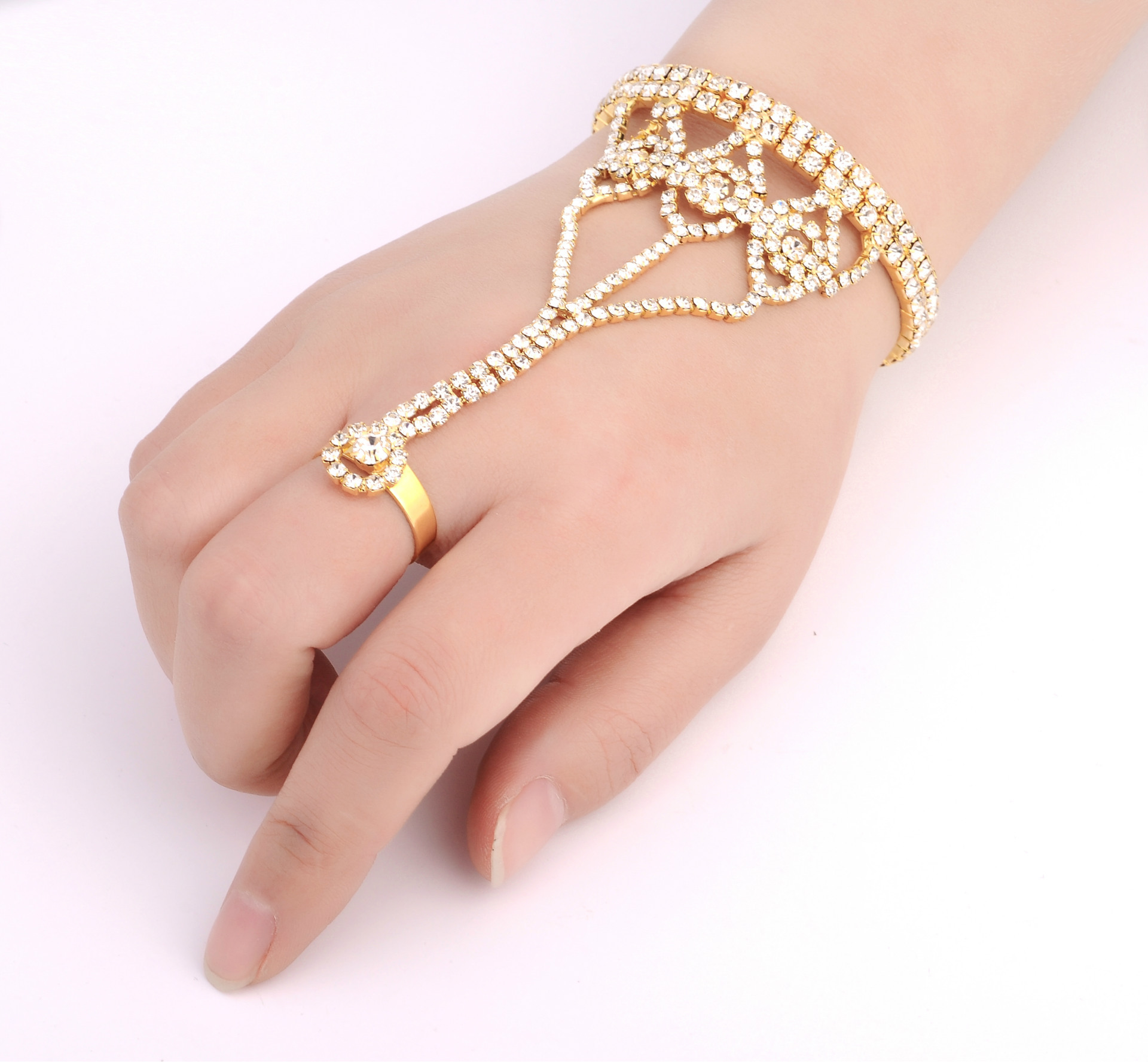Simple crystalBracelet (Golden White Diamond-k9)NHIM0721-Golden White Diamond-k9