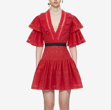 新款女裝V領木耳邊紅色蕾絲收腰連衣裙短款洋裝禮服