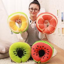 毛绒玩具批发卡通u型枕可爱创意水果颈枕泡沫粒子靠枕西瓜汽车枕