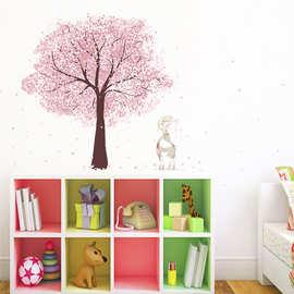 清新櫻花樹梅花鹿牆貼創意DIY家居美化裝飾壁畫PVC可移除防水貼畫