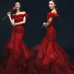 2017 new studio red word shoulder fishtail wedding photography couple photo theme gift Korean clothing