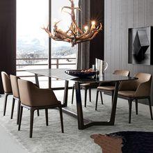 实木大理石餐桌北欧实木餐桌椅组合白蜡木实木长方形饭桌工厂批发