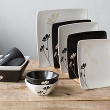 手繪小雛菊陶瓷餐具黑白方盤方碗碟家用六角小飯碗四方碗杯子批發