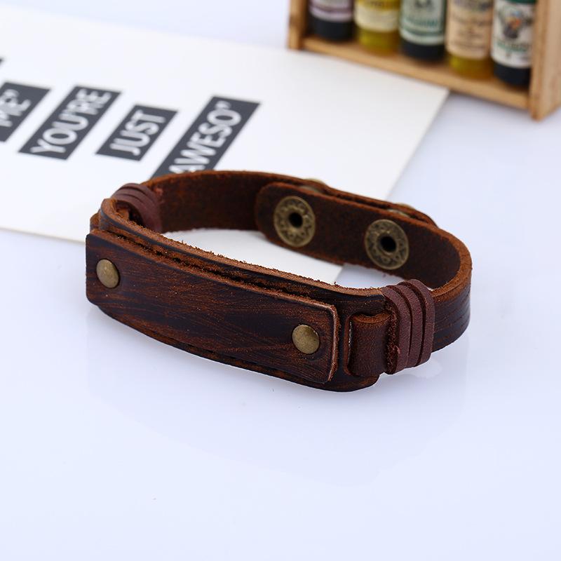 Leather Fashion Geometric bracelet  (brown) NHPK1689-brown