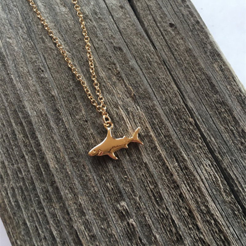 European and American popular gold and silver great white shark alloy necklace NHCU153011