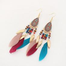 韩国时尚复古米珠流苏耳环女长款金属叶子羽毛滴油耳坠民族风耳饰