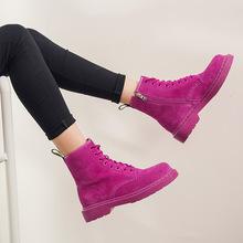 马丁靴女真皮新款 中筒拉链绑带牛皮女士靴子时尚潮人平底韩版鞋