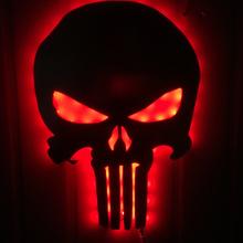 外贸热销惩罚者骷髅镜子灯 LED遥控七彩变色梳妆镜壁灯装饰小夜灯