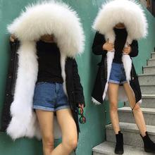 跨境专供Meifng白色狐狸毛皮草大毛领黑色长款派克服瘦尼克服大码