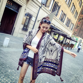 New retro celebrity style scarf thick cotton beauty print tassels defensive ladies shawl scarves