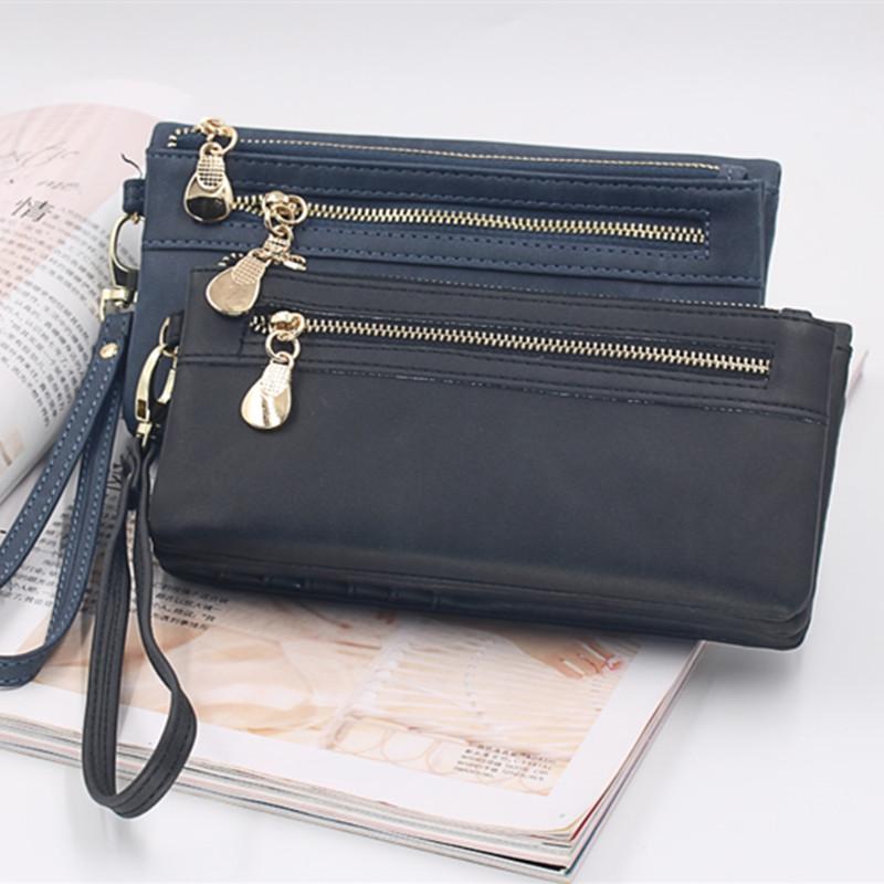源头厂家跨境热卖双拉链磨砂女士长款钱包韩版PU大容量手提包现货