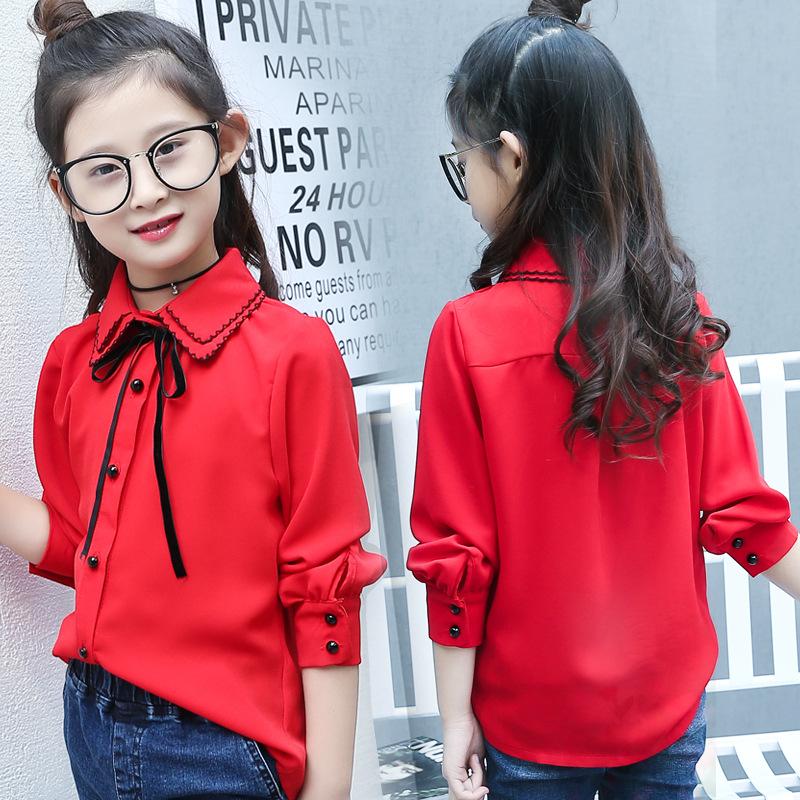 童裝春裝新款女童長袖襯衫韓版翻領蝴蝶結雪紡兒童襯衣微商代理