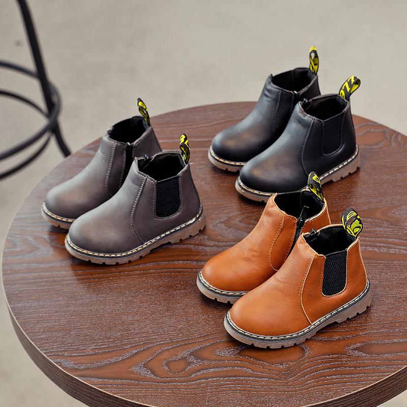 爆款!秋冬新款儿童马丁靴女童英伦单靴短靴加棉保暖靴男童靴子潮