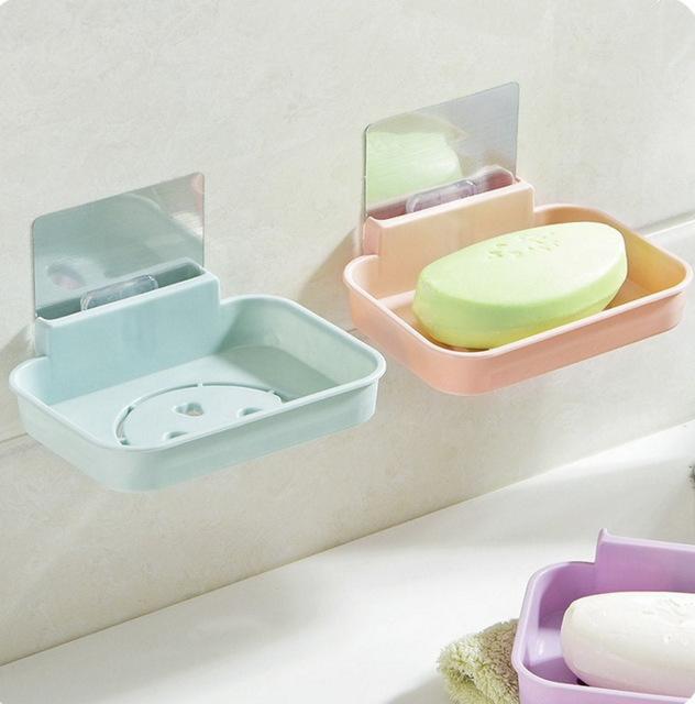 无痕粘贴壁挂香皂盒卫生间沥水香皂架 浴室卡通肥皂架肥皂盒皂托