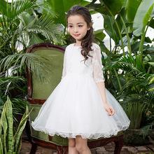 2017新款中大童中袖韩版儿童礼服公主婚礼女花童婚纱蓬蓬连衣裙