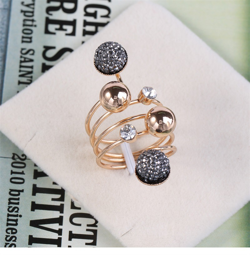 natural alloy Paint Ring Black  Adjustable opening  NHKQ0899