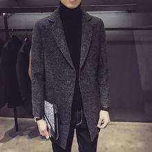 韩版修身男士呢大衣夹克秋冬款青年时尚中长款西装呢风衣外套男装