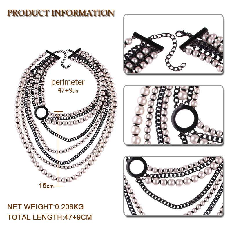 Fashion Pearlnecklace Geometric (Photo Color)NHJQ9643-Photo Color