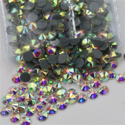 Crystal glass Flat bottom with glue hot fix rhinestones for clothing  white AB beaty nail beauty diamond accessories DIY accessories