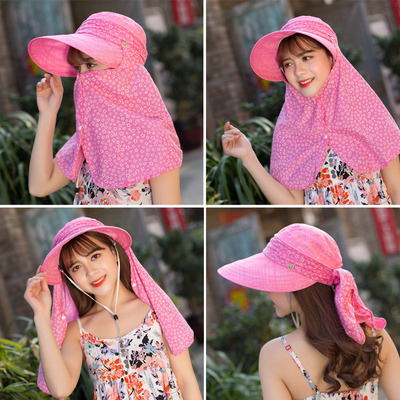 Women's big edge sunshade hat outdoor mountaineering sunscreen hat cover face and neck cotton hemp hat