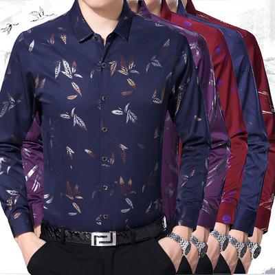 男式衬衫2019秋季青中年男士长袖衬衫男薄款烫金衬衣寸衫男装批发