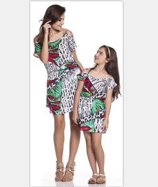 Mai Caini spring and summer Europe and America Aliex tropical rain forest print stitching parent-child half skirt