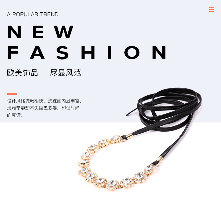 Occident and the United States alloy Diamond necklace (Golden white)NHNTF1300-Golden white