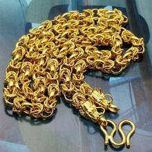 龙头手工龙链 黄铜保色男项链  镀金项链 24K男式龙骨链项链 欧币