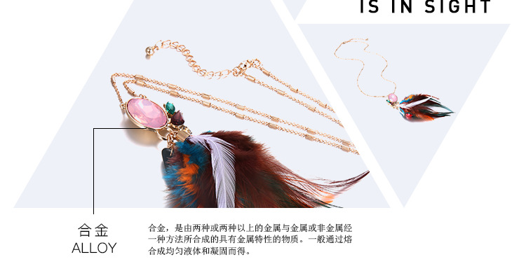 Alloy Bohemia Geometric necklace  (Color mixing) NHTF0094-Color-mixing