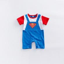 代發純棉嬰兒服裝超人背帶假兩件短袖平角哈衣寶寶爬服連身衣