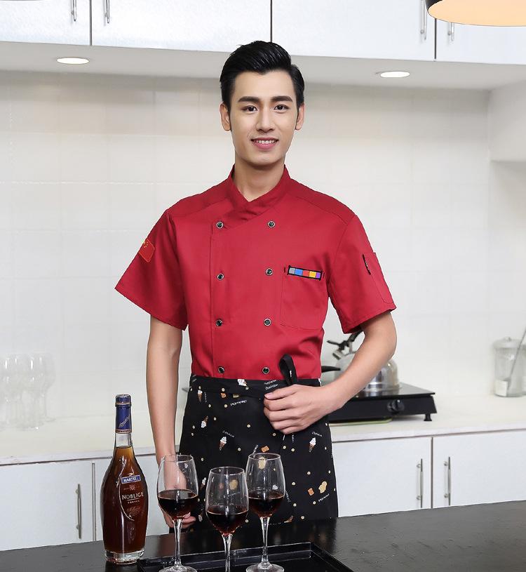 酒店厨师服短袖饭店食堂厨师工作服夏季快西餐厨房衣服透气