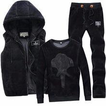 金丝绒三件套运动套装男士秋冬季加绒加厚休闲卫衣套装运动服青年