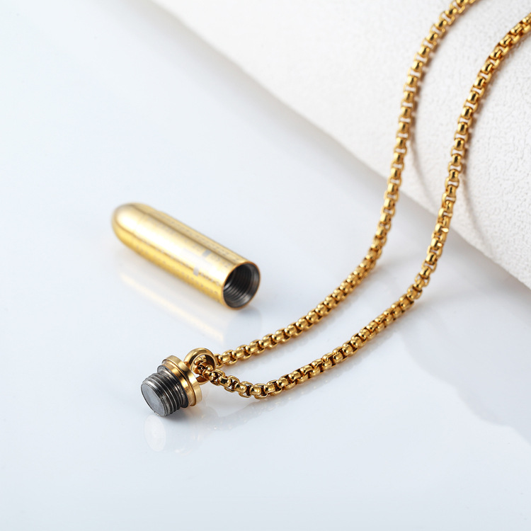 Fashion Titanium Stainless Steel Paint NecklaceBullet (Gold)NHZH0378-Gold