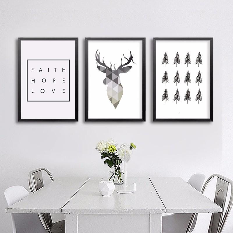 30 Modern Home Decor Ideas: 流行艺术海报_爆款几何北欧抽象鹿字母装饰画芯流行艺术海报