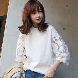 2020夏秋新款韩版宽松显瘦t恤七分袖女百搭蕾丝打底衫女装上衣