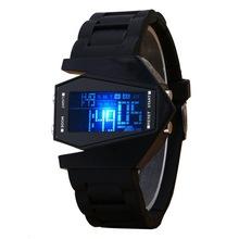 時尚休閑硅膠手表 數字LED夜光飛機手表 戰斗機七彩燈光電子手表