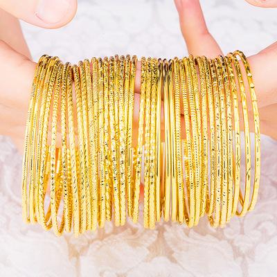 韩版闭口细圈圈手镯越南沙金波西米亚线圈手饰 女黄铜镀纯金手环