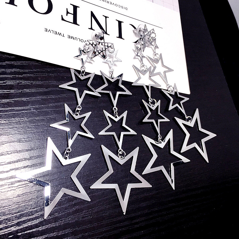fashion metal hollow five-pointed star long earrings  NHFT308232