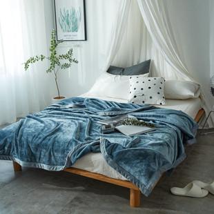 冬季云貂绒毛毯加厚400g纯色法兰绒盖毯双面绒床单毯子一件代发