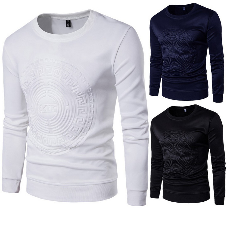 Autumn new men's Pullover crew neck embossed space cotton long sleeve sweater men's large thin casual men's coat